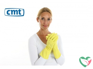 CMT Huishoudhandschoen rubber geel L