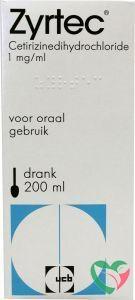 Zyrtec Zyrtec drank 1 mg/mg