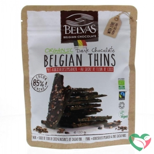 Belvas Thins dark 85% met kokosbloesemsuiker