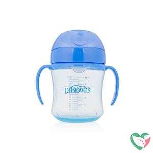 Dr Brown's Drinkbeker blauw 180 ml zachte tuit