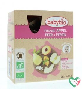 Babybio Vruchtenmoes appel peer perzik 90 gram bio