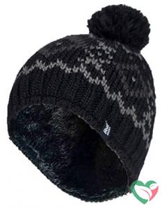 Heat Holders Mens chunky jacquard pom pom hat helsinki black