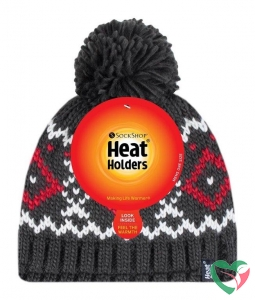 Heat Holders Mens pom pom hat Helsinki charcloal/red
